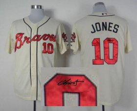 Wholesale Braves #10 Chipper Jones Cream Cool Base Autographed Stitched Baseball Jersey