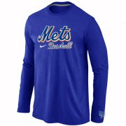Wholesale Cheap New York Mets Long Sleeve MLB T-Shirt Blue