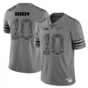 Wholesale Cheap Ohio State Buckeyes 10 Joe Burrow Gray Shadow College Football Jersey