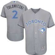 Wholesale Cheap Blue Jays #2 Troy Tulowitzki Grey Flexbase Authentic Collection Father's Day Stitched MLB Jersey