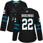 Wholesale Cheap Adidas Sharks #22 Jonny Brodzinski Black Alternate Authentic Women's Stitched NHL Jersey