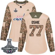 Wholesale Cheap Adidas Capitals #77 T.J. Oshie Camo Authentic 2017 Veterans Day Stanley Cup Final Champions Women's Stitched NHL Jersey