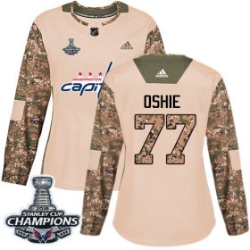 Wholesale Cheap Adidas Capitals #77 T.J. Oshie Camo Authentic 2017 Veterans Day Stanley Cup Final Champions Women\'s Stitched NHL Jersey