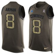 Wholesale Cheap Nike Cowboys #8 Troy Aikman Green Men's Stitched NFL Limited Salute To Service Tank Top Jersey