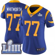 Wholesale Cheap Nike Rams #77 Andrew Whitworth Royal Blue Alternate Super Bowl LIII Bound Women's Stitched NFL Vapor Untouchable Limited Jersey