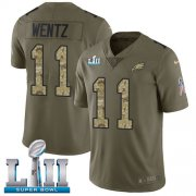 Wholesale Cheap Nike Eagles #11 Carson Wentz Olive/Camo Super Bowl LII Youth Stitched NFL Limited 2017 Salute to Service Jersey