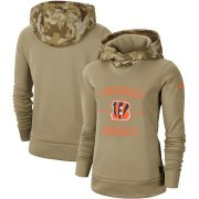 Wholesale Cheap Women's Cincinnati Bengals Nike Khaki 2019 Salute to Service Therma Pullover Hoodie