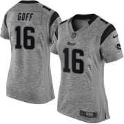 Wholesale Cheap Nike Rams #16 Jared Goff Gray Women's Stitched NFL Limited Gridiron Gray Jersey