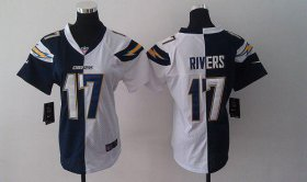 Wholesale Cheap Nike Chargers #17 Philip Rivers Navy Blue/White Women\'s Stitched NFL Elite Split Jersey