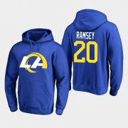 Wholesale Cheap Los Angeles Rams #20 Jalen Ramsey Men's 2020 New Logo Royal Pullover Hoodie
