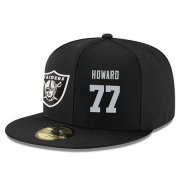 Wholesale Cheap Oakland Raiders #77 Austin Howard Snapback Cap NFL Player Black with Silver Number Stitched Hat
