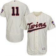 Wholesale Cheap Twins #11 Jorge Polanco Cream Strip Flexbase Authentic Collection Stitched MLB Jersey