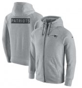 Wholesale Cheap Men's New England Patriots Nike Ash Gridiron Gray 2.0 Full-Zip Hoodie