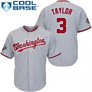 Wholesale Cheap Nationals #3 Michael Taylor Grey Cool Base 2019 World Series Champions Stitched Youth MLB Jersey