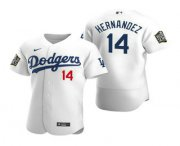 Wholesale Cheap Men's Los Angeles Dodgers #14 Enrique Hernandez White 2020 World Series Authentic Flex Nike Jersey
