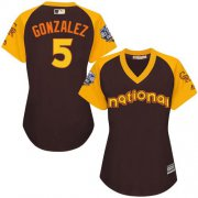 Wholesale Cheap Rockies #5 Carlos Gonzalez Brown 2016 All-Star National League Women's Stitched MLB Jersey