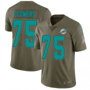 Wholesale Cheap Nike Dolphins #75 Ereck Flowers Olive Men's Stitched NFL Limited 2017 Salute To Service Jersey