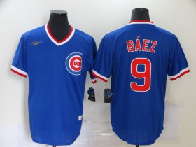 Wholesale Cheap Men\'s Chicago Cubs #9 Javier Baez Blue Pullover Cooperstown Collection Stitched MLB Nike Jersey