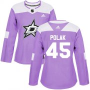 Cheap Adidas Stars #45 Roman Polak Purple Authentic Fights Cancer Women's Stitched NHL Jersey