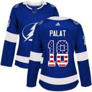 Cheap Adidas Lightning #18 Ondrej Palat Blue Home Authentic USA Flag Women's Stitched NHL Jersey