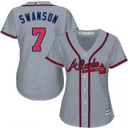Wholesale Cheap Braves #7 Dansby Swanson Grey Road Women's Stitched MLB Jersey