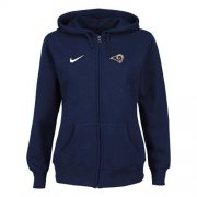 Wholesale Cheap Nike Los Angeles Rams Ladies Tailgater Full Zip Hoodie Blue