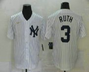 Wholesale Cheap Men's New York Yankees #3 Babe Ruth White Throwback Stitched MLB Cool Base Nike Jersey