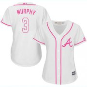 Wholesale Cheap Braves #3 Dale Murphy White/Pink Fashion Women's Stitched MLB Jersey