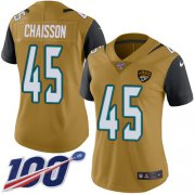 Wholesale Cheap Nike Jaguars #45 K'Lavon Chaisson Gold Women's Stitched NFL Limited Rush 100th Season Jersey