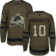 Wholesale Cheap Adidas Avalanche #10 Sven Andrighetto Green Salute to Service Stitched Youth NHL Jersey