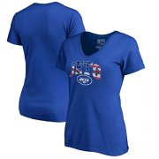 Wholesale Cheap Women's New York Jets NFL Pro Line by Fanatics Branded Royal Banner Wave V-Neck T-Shirt