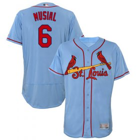 Wholesale Cheap Cardinals #6 Stan Musial Light Blue Flexbase Authentic Collection Stitched MLB Jersey