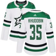 Cheap Adidas Stars #35 Anton Khudobin White Road Authentic Women's Stitched NHL Jersey