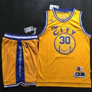 Wholesale Cheap Warriors #30 Stephen Curry Gold Throwback The City A Set Stitched NBA Jersey