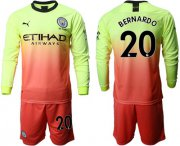 Wholesale Cheap Manchester City #20 Bernardo Third Long Sleeves Soccer Club Jersey