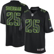 Wholesale Cheap Nike Seahawks #25 Richard Sherman Black Men's Stitched NFL Impact Limited Jersey