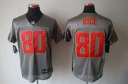 Wholesale Cheap Nike 49ers #80 Jerry Rice Grey Shadow Men's Stitched NFL Elite Jersey