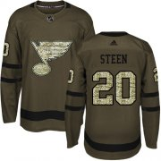 Wholesale Cheap Adidas Blues #20 Alexander Steen Green Salute to Service Stitched Youth NHL Jersey