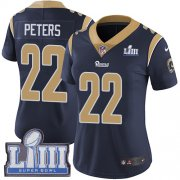 Wholesale Cheap Nike Rams #22 Marcus Peters Navy Blue Team Color Super Bowl LIII Bound Women's Stitched NFL Vapor Untouchable Limited Jersey