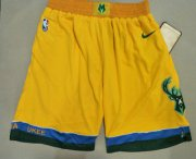 Wholesale Cheap Men's Milwaukee Bucks Yellow City Edition With Pocket Nike Swingman Shorts