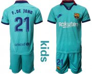 Wholesale Cheap Barcelona #21 F.De Jong Third Kid Soccer Club Jersey