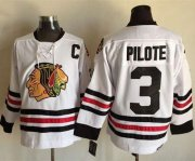 Wholesale Blackhawks #3 Pierre Pilote White CCM Throwback Stitched NHL Jersey