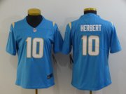 Wholesale Cheap Women's Los Angeles Chargers #10 Justin Herbert Light Blue 2020 NEW Vapor Untouchable Stitched NFL Nike Limited Jersey