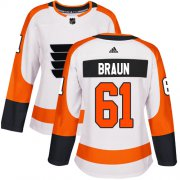 Wholesale Cheap Adidas Flyers #61 Justin Braun White Road Authentic Women's Stitched NHL Jersey