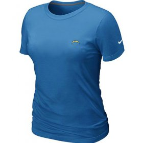 Wholesale Cheap Women\'s Nike Los Angeles Chargers Chest Embroidered Logo T-Shirt Light Blue