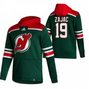 Wholesale Cheap New Jersey Devils #19 Travis Zajac Adidas Reverse Retro Pullover Hoodie Green