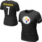 Wholesale Cheap Women's Nike Pittsburgh Steelers #7 Ben Roethlisberger Name & Number T-Shirt Black
