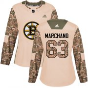 Wholesale Cheap Adidas Bruins #63 Brad Marchand Camo Authentic 2017 Veterans Day Women's Stitched NHL Jersey