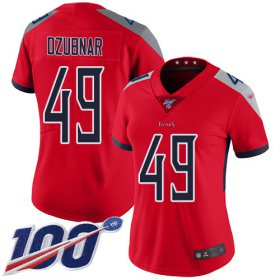 Wholesale Cheap Nike Titans #49 Nick Dzubnar Red Women\'s Stitched NFL Limited Inverted Legend 100th Season Jersey