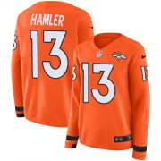 Wholesale Cheap Nike Broncos #13 KJ Hamler Orange Team Color Women's Stitched NFL Limited Therma Long Sleeve Jersey